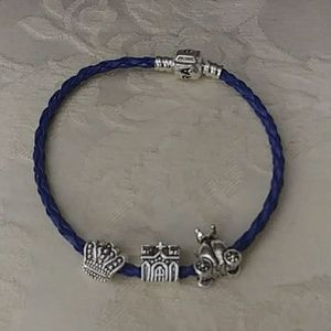 Blue braided charm bracelet with 3 charms